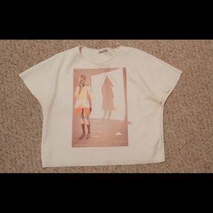 Zara Crop Tee Shirt Cute Girl Print